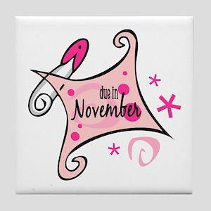 Due in November [pink] Tile Coaster